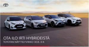 Ota selvää mistä Suomen suosituimmat hybridit on tehty.  Näyttelyetuna rajattuun erään Corolla- ja Yaris -malleja Hybridipakett...