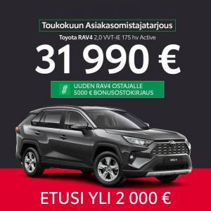 Toukokuun asiakasomistajatarjous:  Uusi Toyota RAV4 2,0 VVT-ie 175hv Active 31990€!  Saatavana myös automaattivaihteistolla 3399...