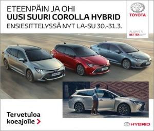 Ekenäs Bilcentrals Corolla-lansering 30-31.3. Lördag kl. 10-14 och söndag 11-14. Tammisaaren Autokeskuksen Corolla-lanseeraus 30-31.3. Lauantai klo. 10-14 ja sunnuntai klo. 11-14.