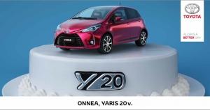 Uskomatonta, että Yaris täyttää jo 20 vuotta! Syntymäpäivän kunniaksi näyttävä Yaris Y20 Edition juhlavin varustein, Multidrive S -automaattivaihteisto veloituksetta ja talvirenkaat 0€. Kokonaisetusi jopa 2700€ Tervetuloa!